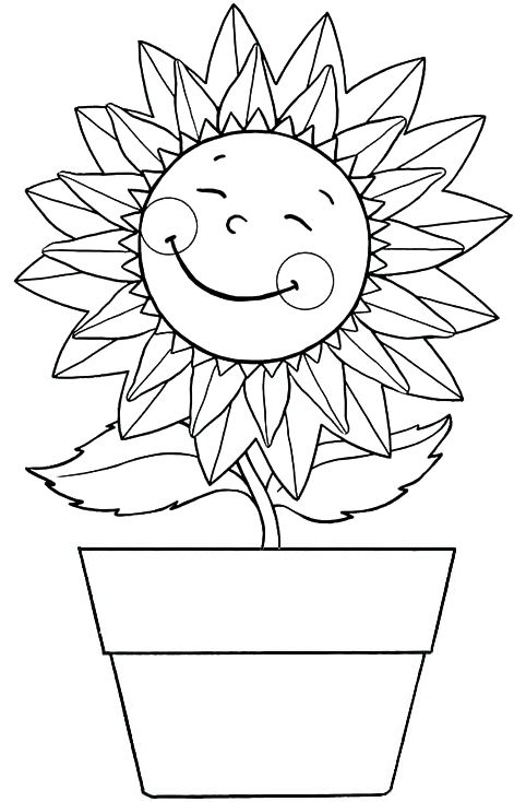 Happy Sunflower In A Pot Coloring Page Personnages Bebe Disney Coloriage Disney