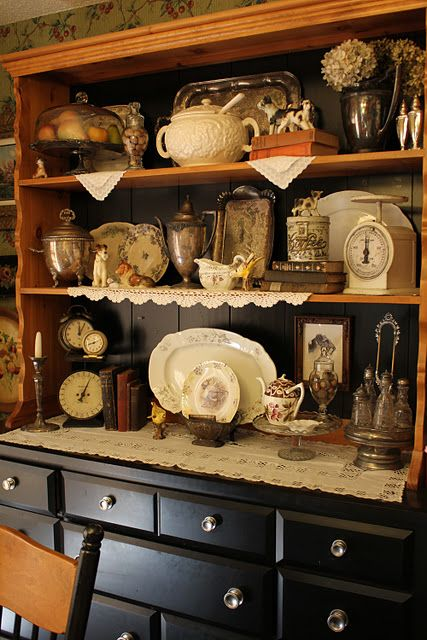 It helps me to see how others arrange hutches. You could mix some of these ideas with the dishes you store in a hutch to keep it interesting.