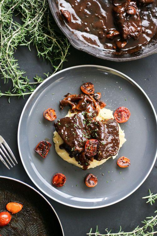 Braised beef short ribs with mushroom and burnt  Mein Blog: Alles rund um die Themen Genuss & Geschmack  Kochen Backen Braten Vorspeisen Hauptgerichte und Desserts # Hashtag