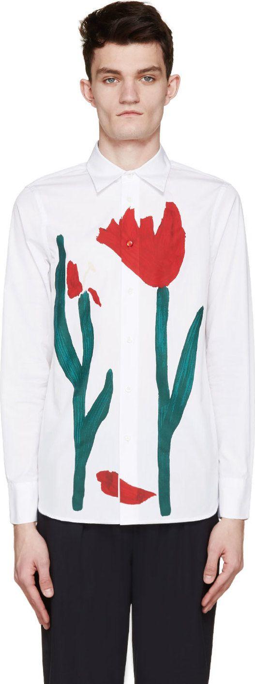 Marni White Painted Tulip Print Shirt