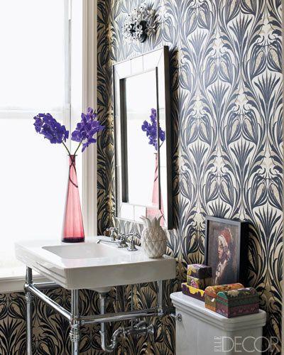 Beautiful Wallpapered Bathroom