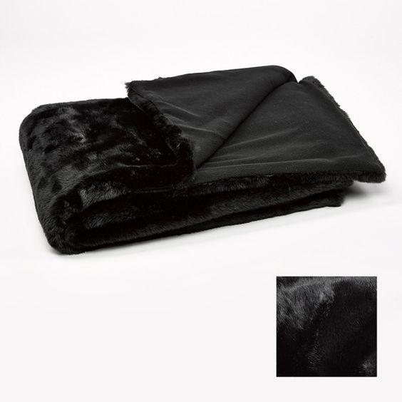 Plaid imitation fourrure  150X200cm Noir