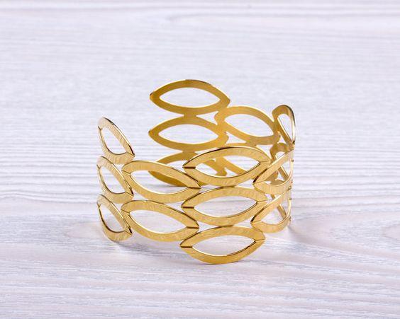 Gold Cuff Bracelet, Gold Leaf Bracelet, Gold Bangle, Wide Cuff Bracelet,Statement Cuff,Inspirational Jewelry,Nature Inspired Jewelry| Erebus