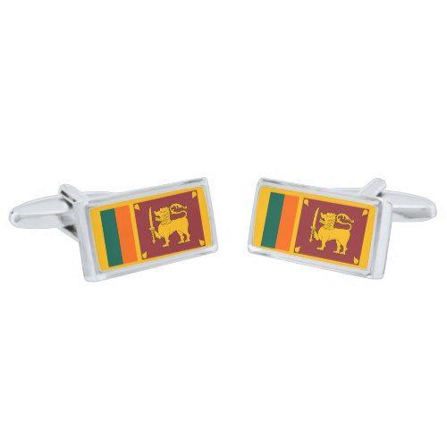 Sri Lanka Map Shape and Flag Design Cufflinks