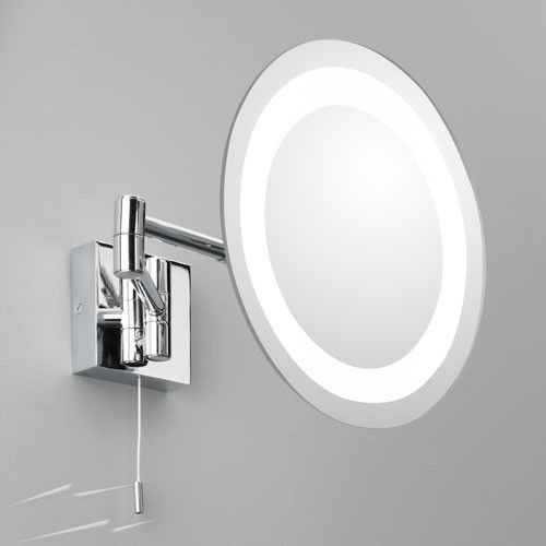 Ax0356 Genova Polished Chrome Round Magnifying Bathroom Mirror With Light And Switch 3w Led G9 Ip44 Astro 1055001 Magnifying Mirror Mirror With Lights Illuminated Mirrors