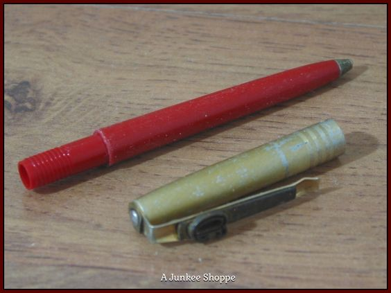 Pen 1964 Ball Point Unbranded Red Plastic Gold Metal With Patent Pending Clip  Junk 657  http://ajunkeeshoppe.blogspot.com/