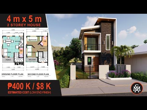 2 Storey House Plan 4x5m House Design With Floor Plan Hd 6 Youtube In 2020 2 Storey House Design Narrow House Designs Small House Design Plans