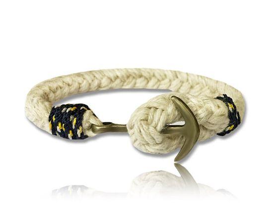 Nautical Braided Anchor Bracelet, Navy Blue Rope, Brass Anchor