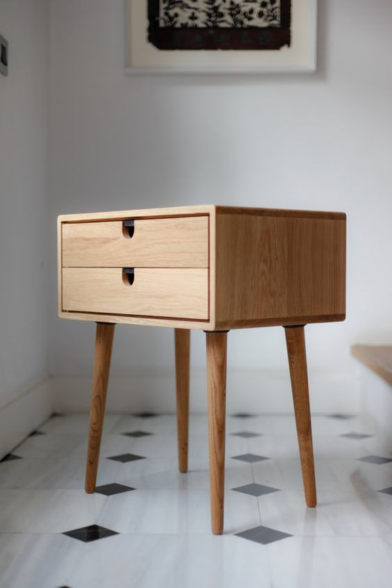 Best Mid Century Modern Solid Oak Nightstand With Double 640 x 480