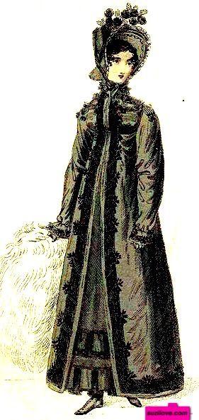1818 December. Black Walking Mourning Dress, or Pelisse, English. Large white muff, black bonnet with flowers. Fashion Plate via British Lady's Magazine. (PD-180) suzilove.com: