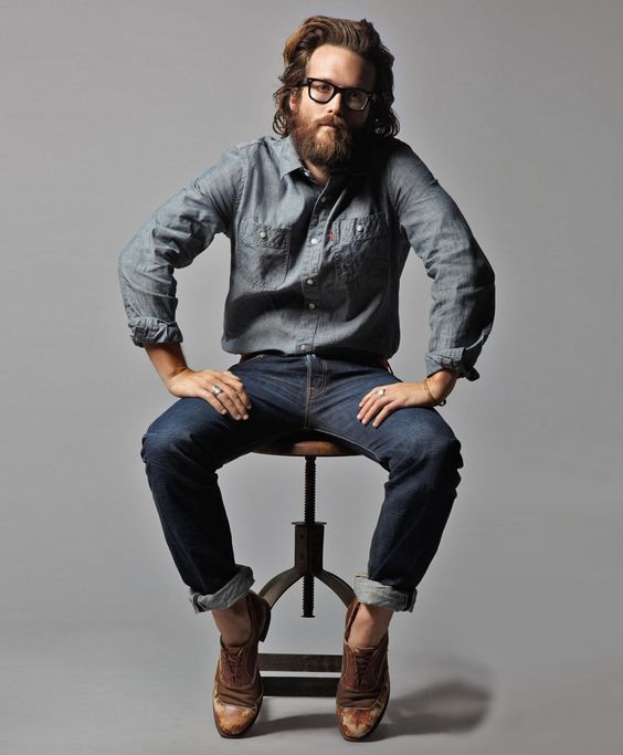 Shop this look for $81:  http://lookastic.com/men/looks/grey-chambray-longsleeve-shirt-and-navy-jeans-and-brown-leather-oxford-shoes/487  — Grey Chambray Longsleeve Shirt  — Navy Jeans  — Brown Leather Oxford Shoes