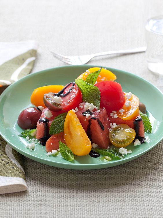 Refreshing Watermelon and Heirloom Tomato Salad #Recipe
