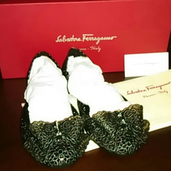 Ferragamo shoes New ferragamo jellies with bow laser cut style with box & dust bag included just tried on. Size 6M color black. Ferragamo Shoes Flats & Loafers