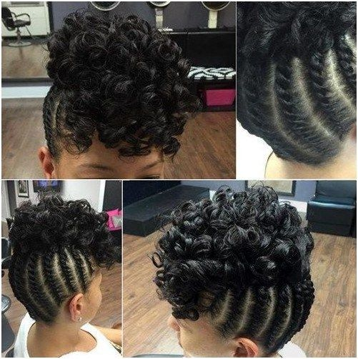 Braided Updo With A Curly Top For Black Hair Protectivestylesbraidsforblackha Protective Hairstyles For Natural Hair Braids With Curls Braided Hairstyles Updo