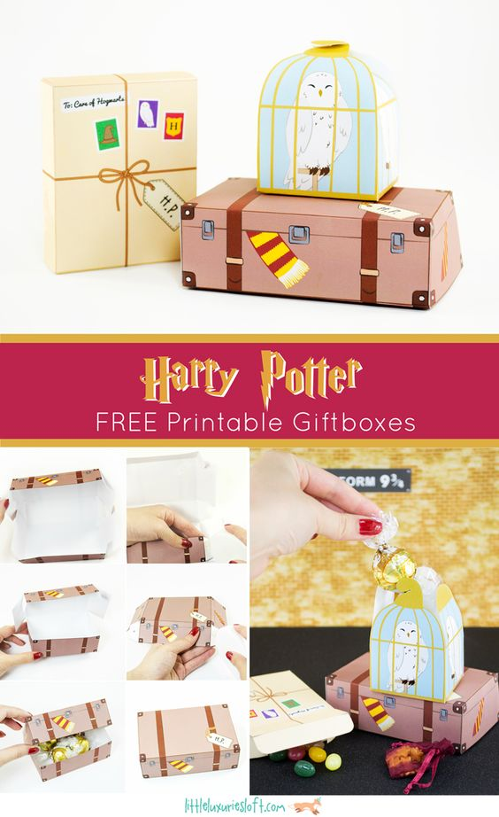 Just the cutest - Harry Potter themed printable gift boxes - use for Christmas or birthday gifts