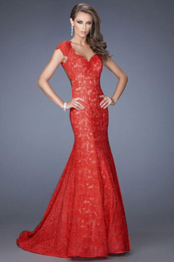 Red formal dresses long
