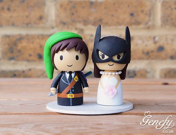 Legend of Zelda groom and Batgirl wedding cake topper by Genefy Playground.  https://www.facebook.com/genefyplayground