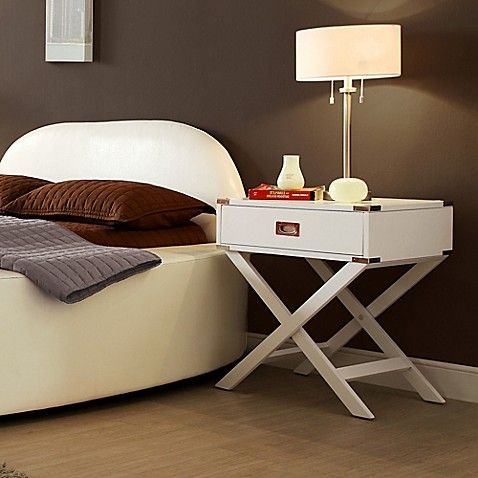 Inspire Q One Drawer Accent Table Cross Leg Nightstand In White