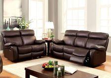 2 pcs Elegant Plush Sofa Set Couch Loveseat Recliner Brown Top Grain Leather