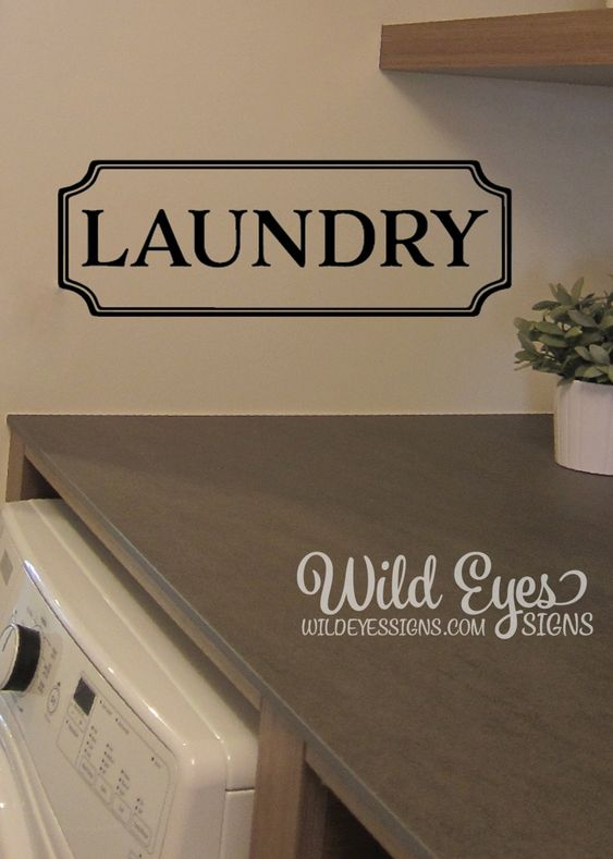 Laundry Vinyl Decal, laundry room decal, Glass  Door Decal, vinyl lettering, Rectangle Border Fame sign by WildEyesSigns on Etsy