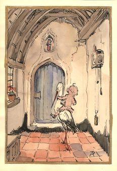 Anton Pieck (1895-1987) - Kleurstudie voor een geboortekaartje