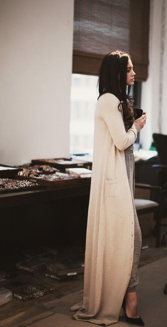 very long sweater- looks cozy, too