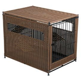 """A woven wicker cover lends a touch of country appeal to this essential pet crate, offering security and comfort for your favorite four-legged companion.    Product: Pet crateConstruction Material: Rhino-wicker and metalColor: Dark brownFeatures:  Removable door panelTwo-way latch door Dimensions: Small: 21"""" H x 18"""" W x 24"""" DMedium: 24"""" H x 21"""" W x 30"""" DLarge: 27"""" H x 24"""" W x 36"""" DExtra Large: 31"""" H x 28"""" W x 42"""" D"""