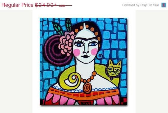 40% off- Mexican Folk Art Ceramic Tile  Frida Kahlo Yellow Cat Art  Mexican Talavera Tiles Gift COASTER  Birthday  Blue Pink