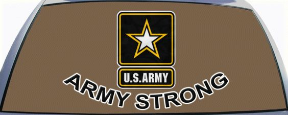 U.S. Army  Rear Window Graphic Mural. Be ARMY STRONG and share your pride with a custom rear window graphic mural