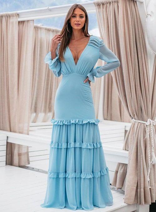 vestidos longos com manga caprichado