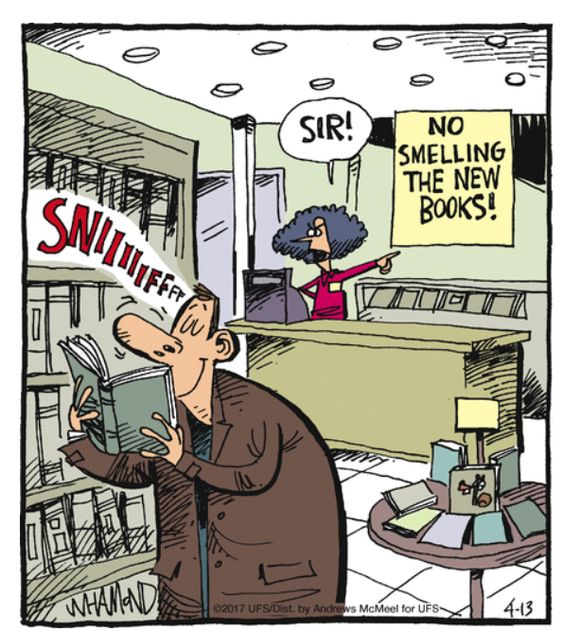 No smelling the books.: