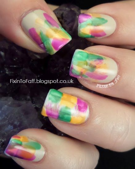 Fixin To Faff: Abstract Neon Brushstroke Mani - LNTC