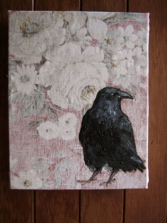 Crow / Raven oil painting on vintage linen fabric.