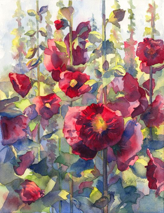 Very pretty watercolor of hollyhocks....: