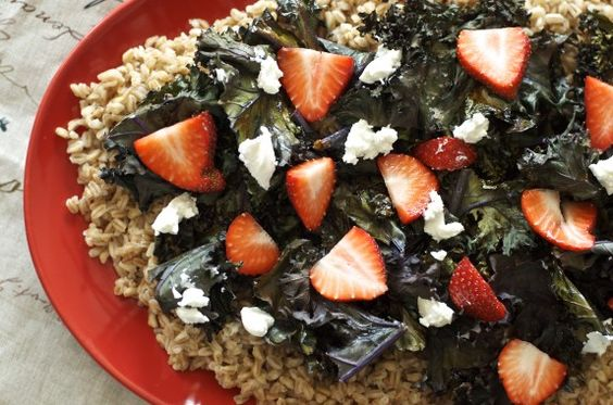 Roasted Kale, Strawberry and Farro Salad | Scrumptious Salads ...