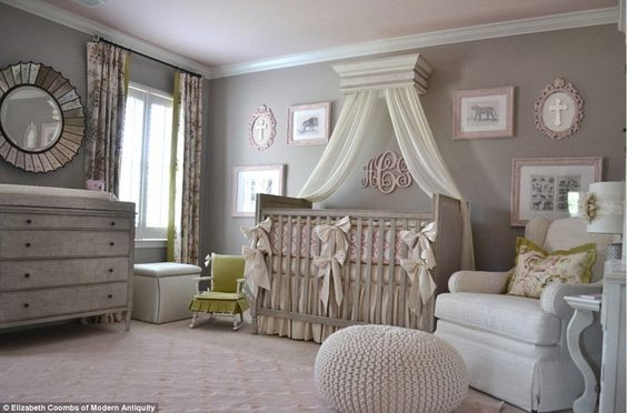 One nursery that might fit her royal tastes is one created by interior designer Elizabeth Coombs of Modern Antiquity, which uses a mix of feminine dusky pinks and sophisticated greys.
