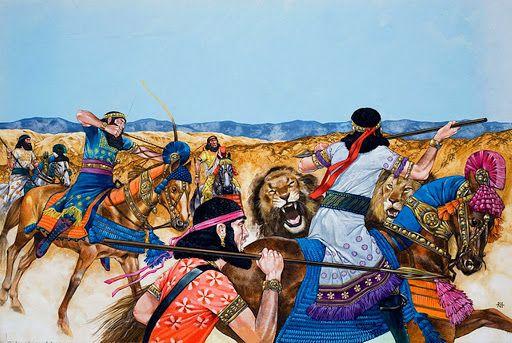 Guerreros asirios cazando leones