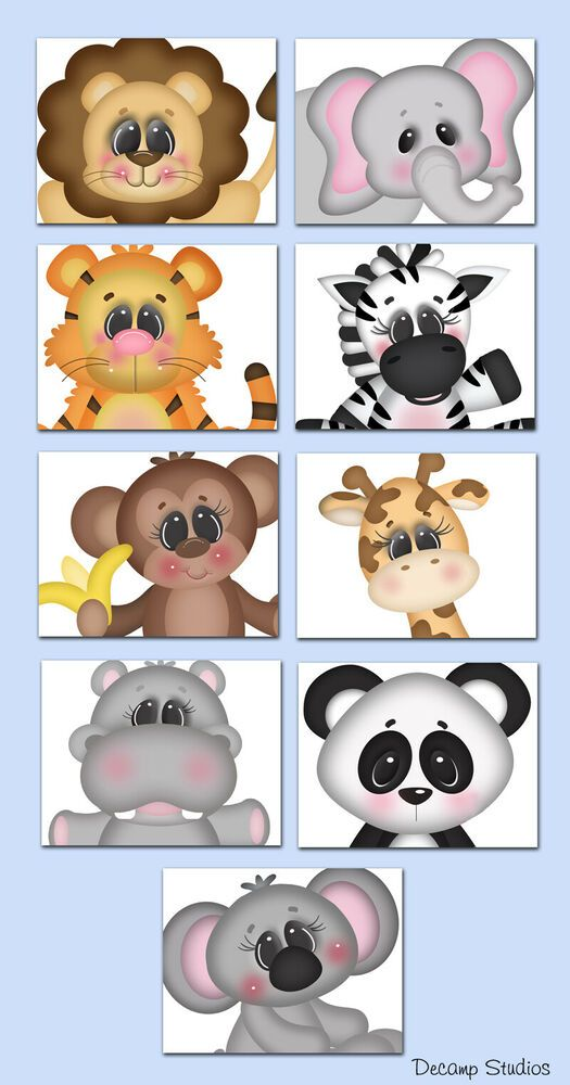 Safari Animal Baby Nursery Art Prints Set Childrens Bedroom Decor Gift Boy Girl