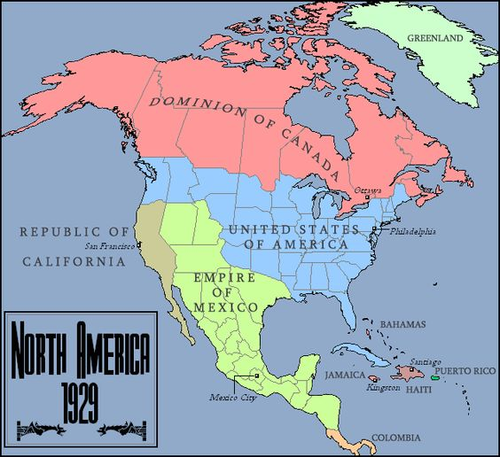 A world where Aaron Burr became Emperor of Mexico – Map of North Mexico