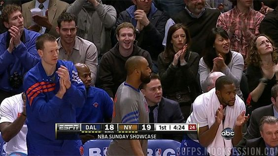 Hey sports fans, look at Mr. Cool Sports Fan up there in the stands. Mark Zuckerberg, with girlfriend Priscilla Chan, will find a way to make another billion dollars stealing fellow Harvard alumnus Jeremy Lin's unselfish style of offense.