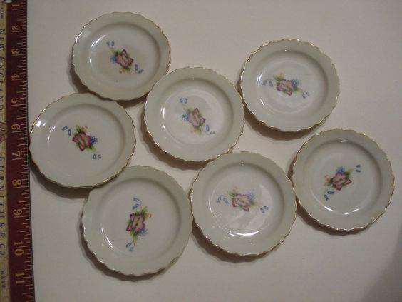 "Set of 7 Floral Butter Pats Dishes Plates flower Japan 3 1/2"" gold trim"