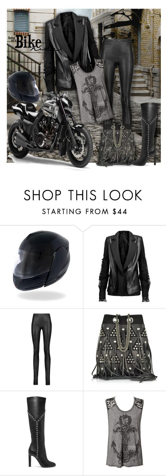 """""""Biker Babe"""" by wanda-india-acosta ❤ liked on Polyvore featuring Maison Margiela, Haider Ackermann, Jérôme Dreyfuss and Yves Saint Laurent"""