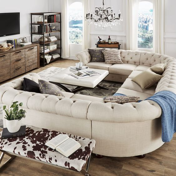 TRIBECCA HOME Knightsbridge Tufted Scroll Arm Chesterfield 9-Seat U-Shaped Sectional