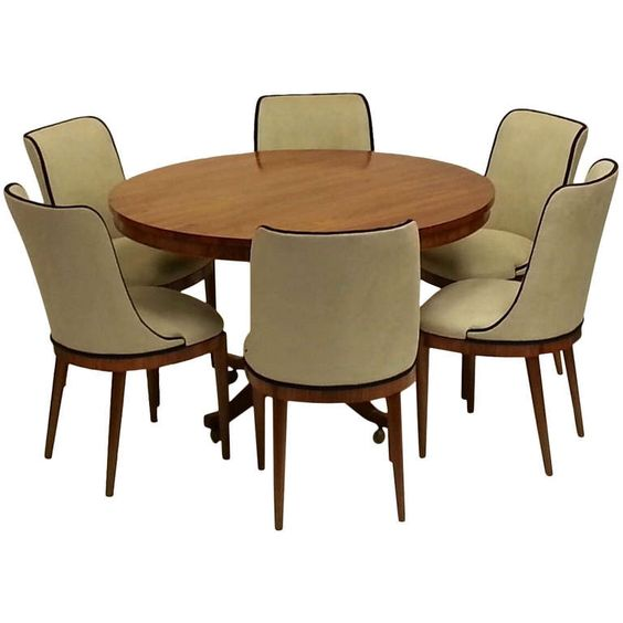 Art Deco Dining Table And Six Chairs | Art Deco, Small Dining Rooms And  Small Dining