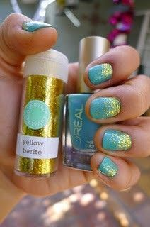 Teal and gold glitter.