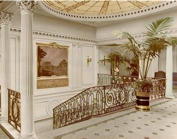 rms olympic interior aquitania grand staircase by