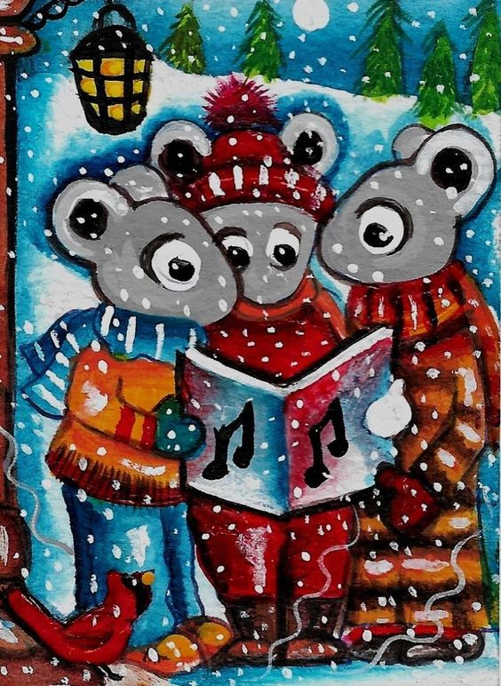 "2018 Original ACEO Painting ""CHRISTMAS CAROLING"" MICE AnitaWaRe"
