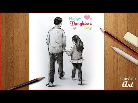 Happy Daughter S Day Drawing Father And Daughter Pencil Sketch