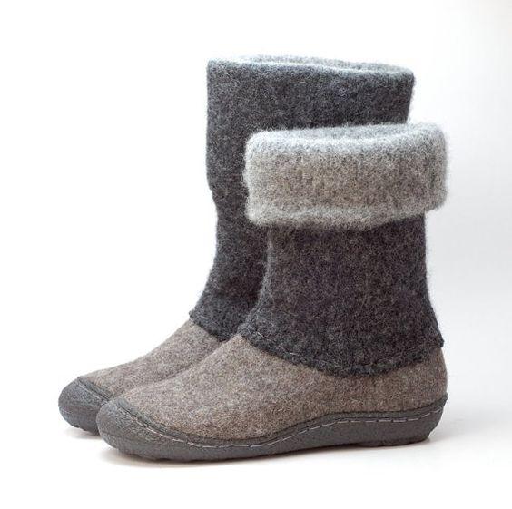 Felt Boots Natural Gray Black Felted Winter Wool Boot