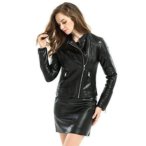 Biovan Womens Faux Leather Zipper Moto Biker Jacket Slim Short PU ...